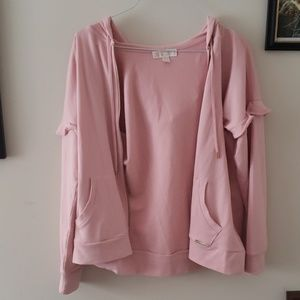 Michael Kors pink ruffle sleeve hooded jacket